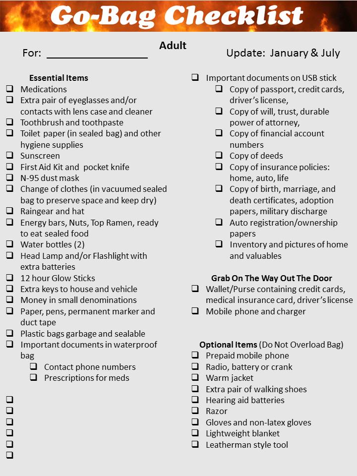 Go Bag Checklist Grey